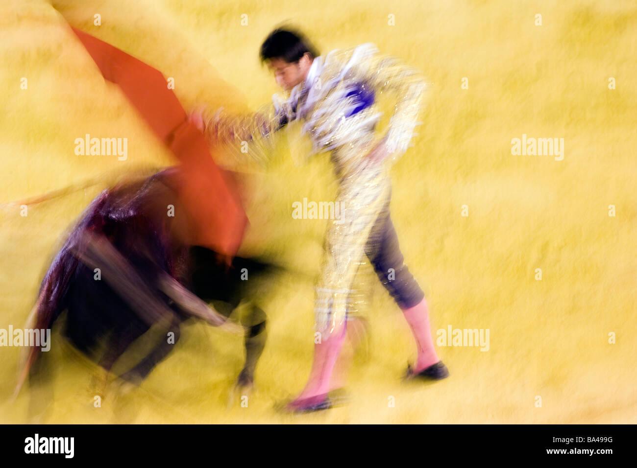 Bullfight action at slow shutter speed Real Maestranza bullring, Seville - Stock Image