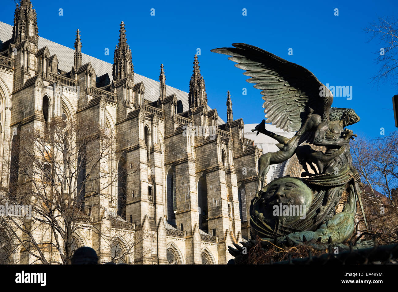 The Peace Fountain and the Cathedral of St. John the Divine. New York City. United States. - Stock Image