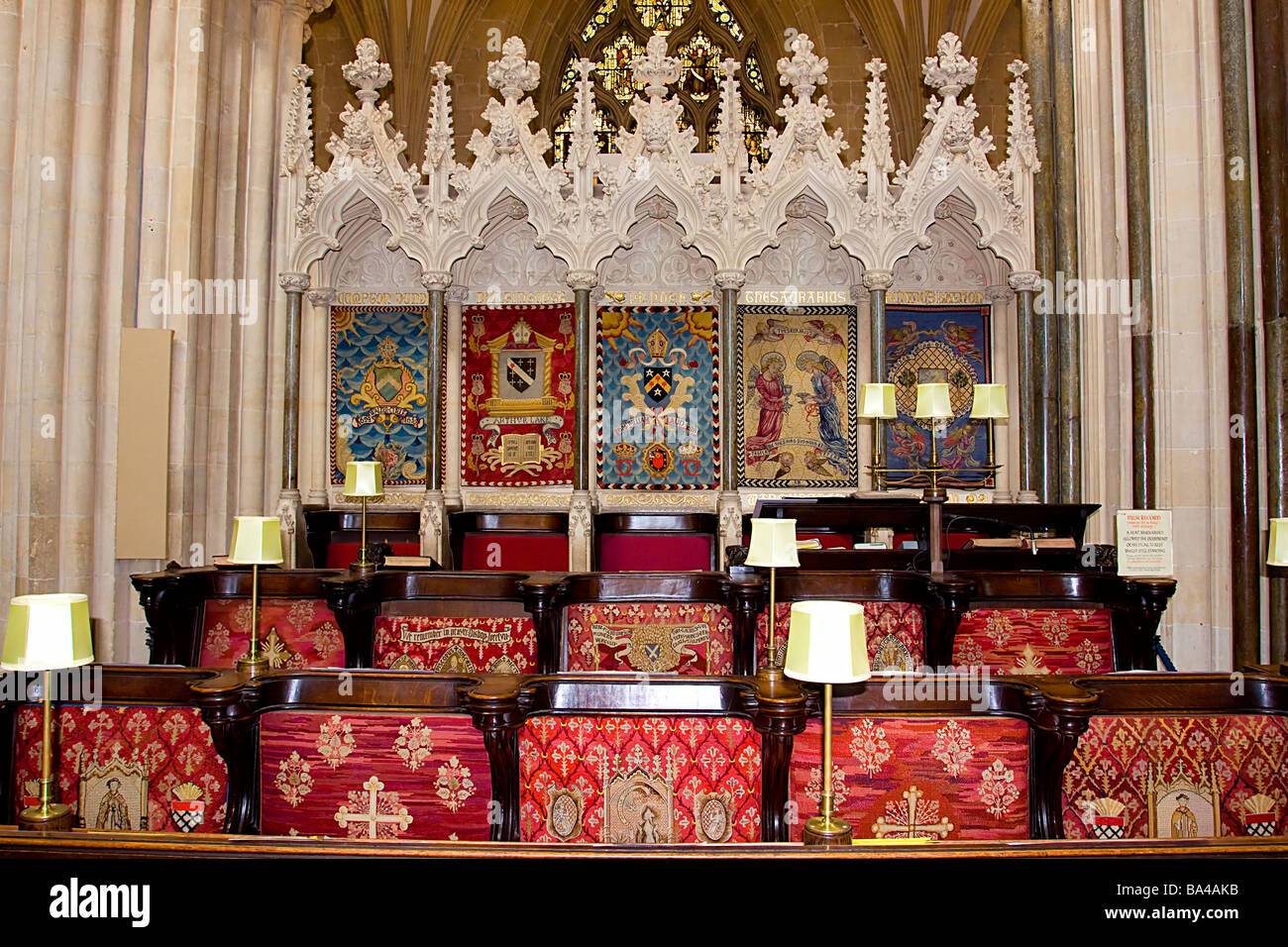 Wells Cathedrall choir stalls somerset england - Stock Image