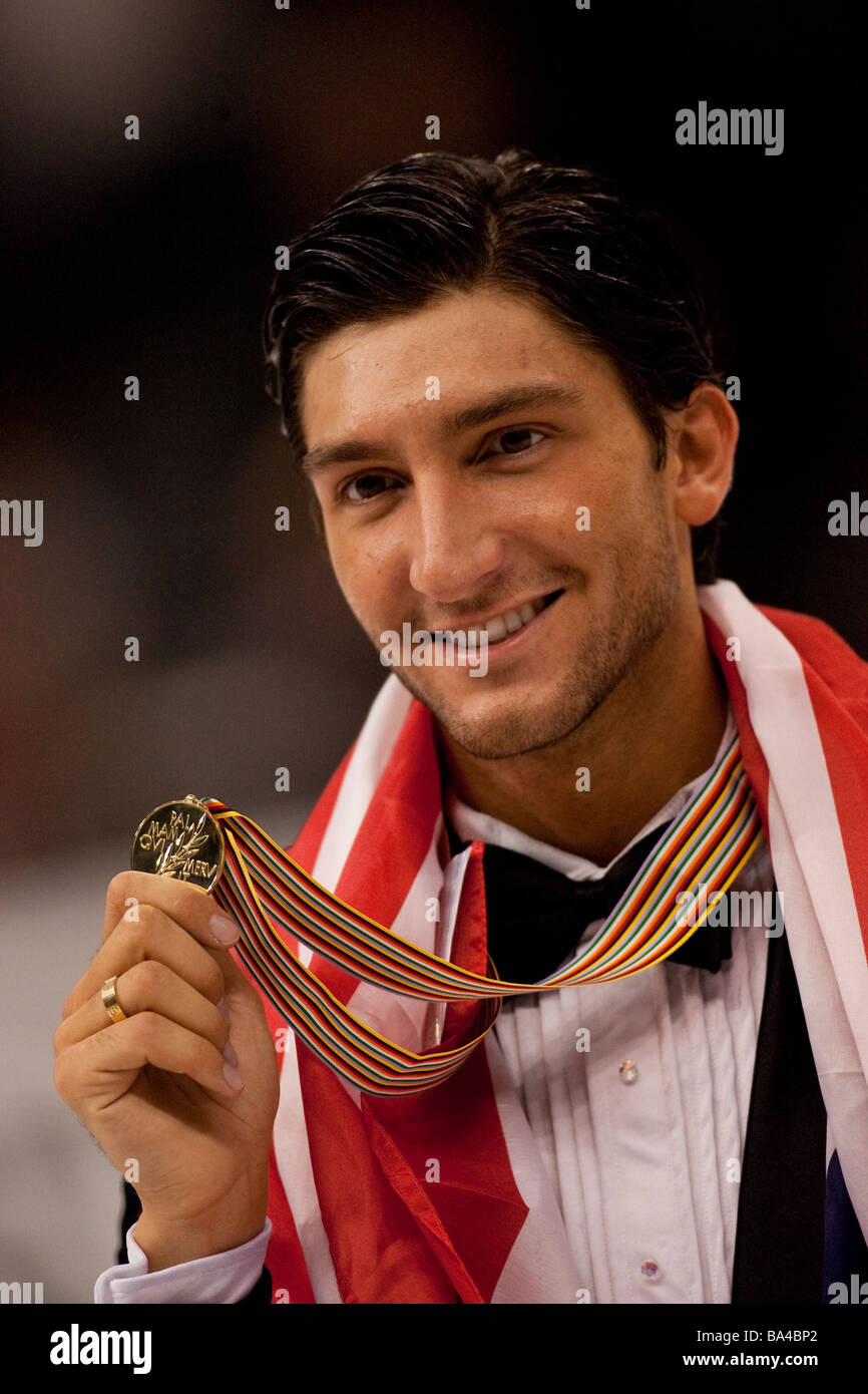 Evan Lysacek USA gold medal winner in the Men competition at the 2009 World Figure Skating Championships - Stock Image