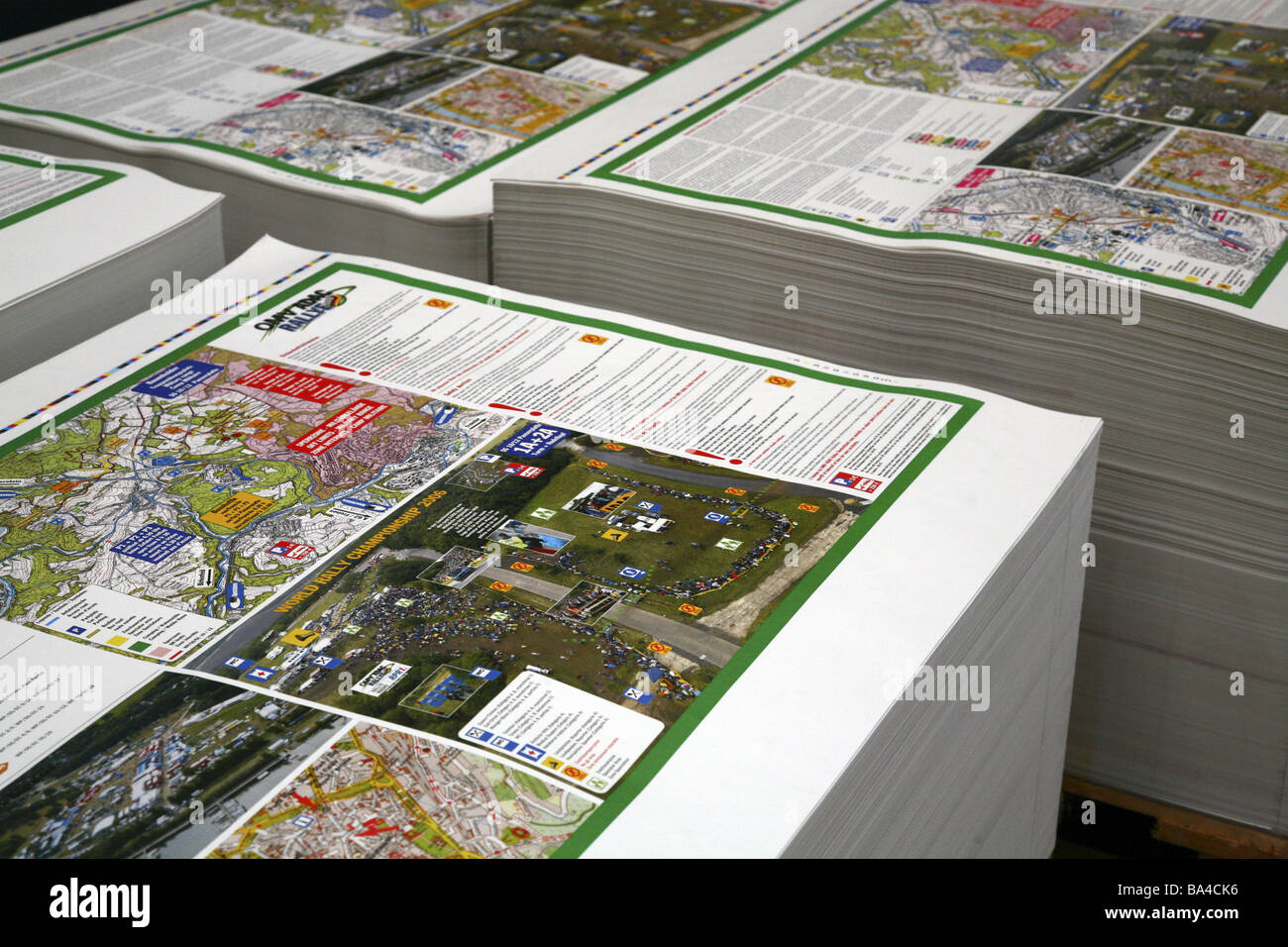 Printing work paper-stack economy prints industry offset printing work-product stack paper inter-storage indoors - Stock Image