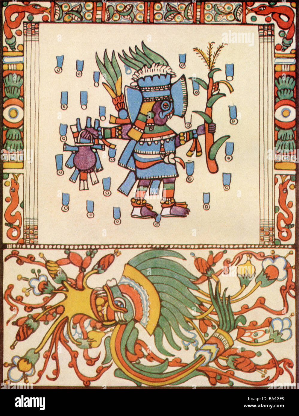 Tlaloc The Rain God from the Codex Vaticanus.  A Deity in Aztec religion a god of rain fertility and water - Stock Image