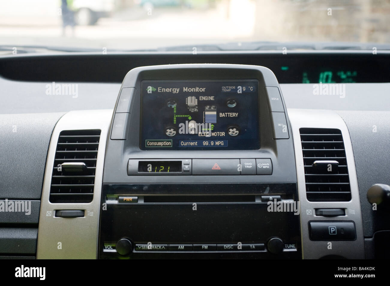 Energy distribution screen on the dashboard of a Toyota prius hybrid car - Stock Image