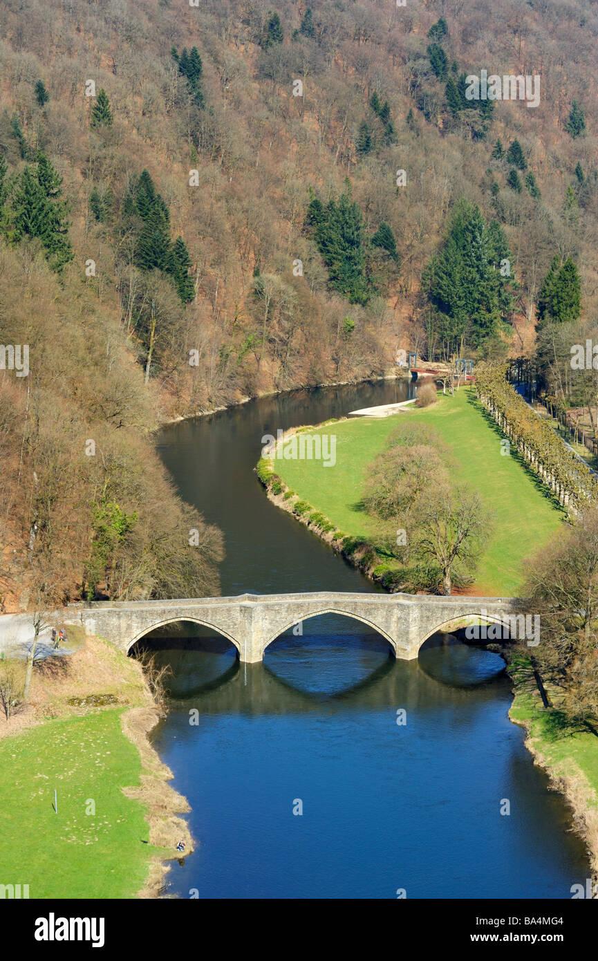 bridge and river landscape in Bouillon Ardennes Belgium - Stock Image