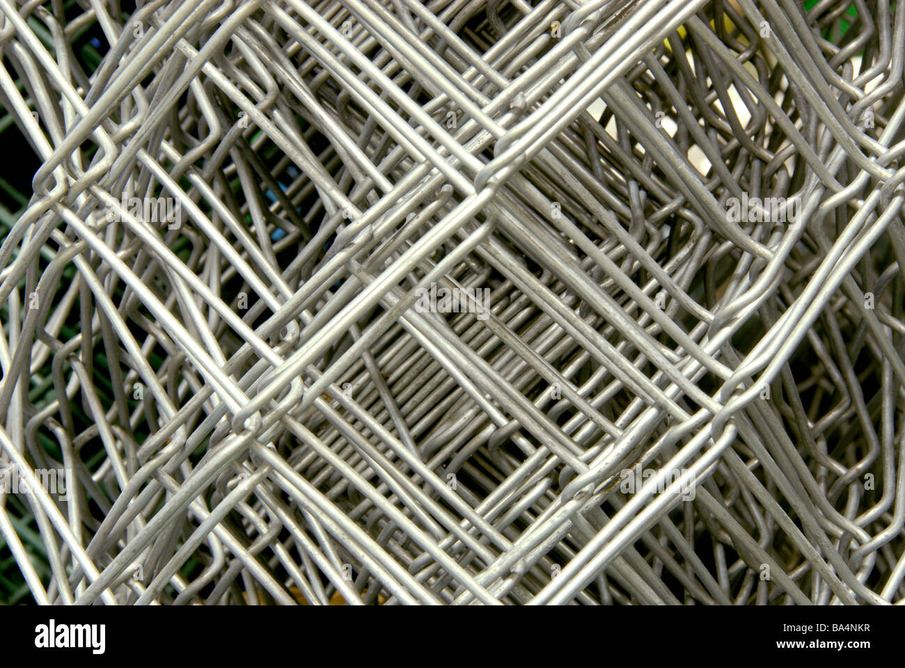 Metal net in close up ready to buy in shop - Stock Image