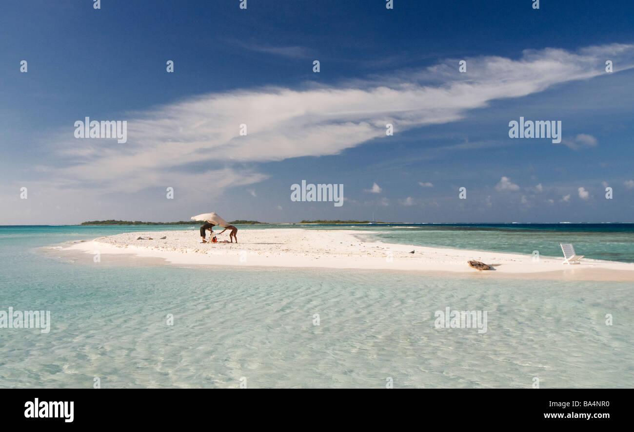 Couple On Deserted Island Los Roques Venezuela South America Stock