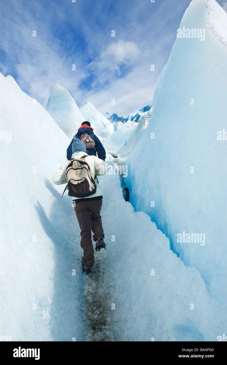 Trekking on Perito Moreno Glacier, Patagonia, Argentina. Stock Photo