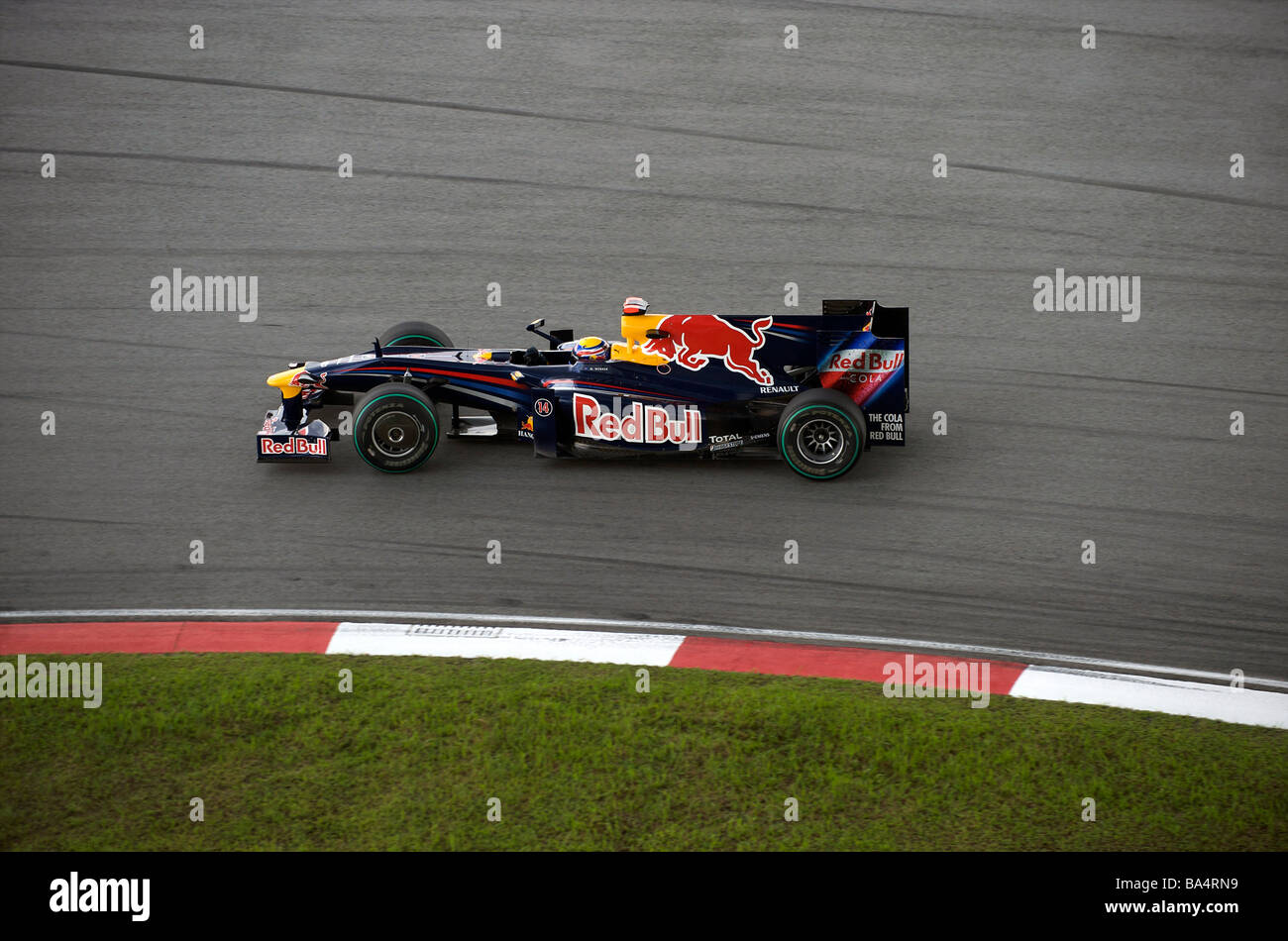 Red Bull Racing driver Mark Webber of Australia steers his car during the third practice session ahead the 2009 - Stock Image