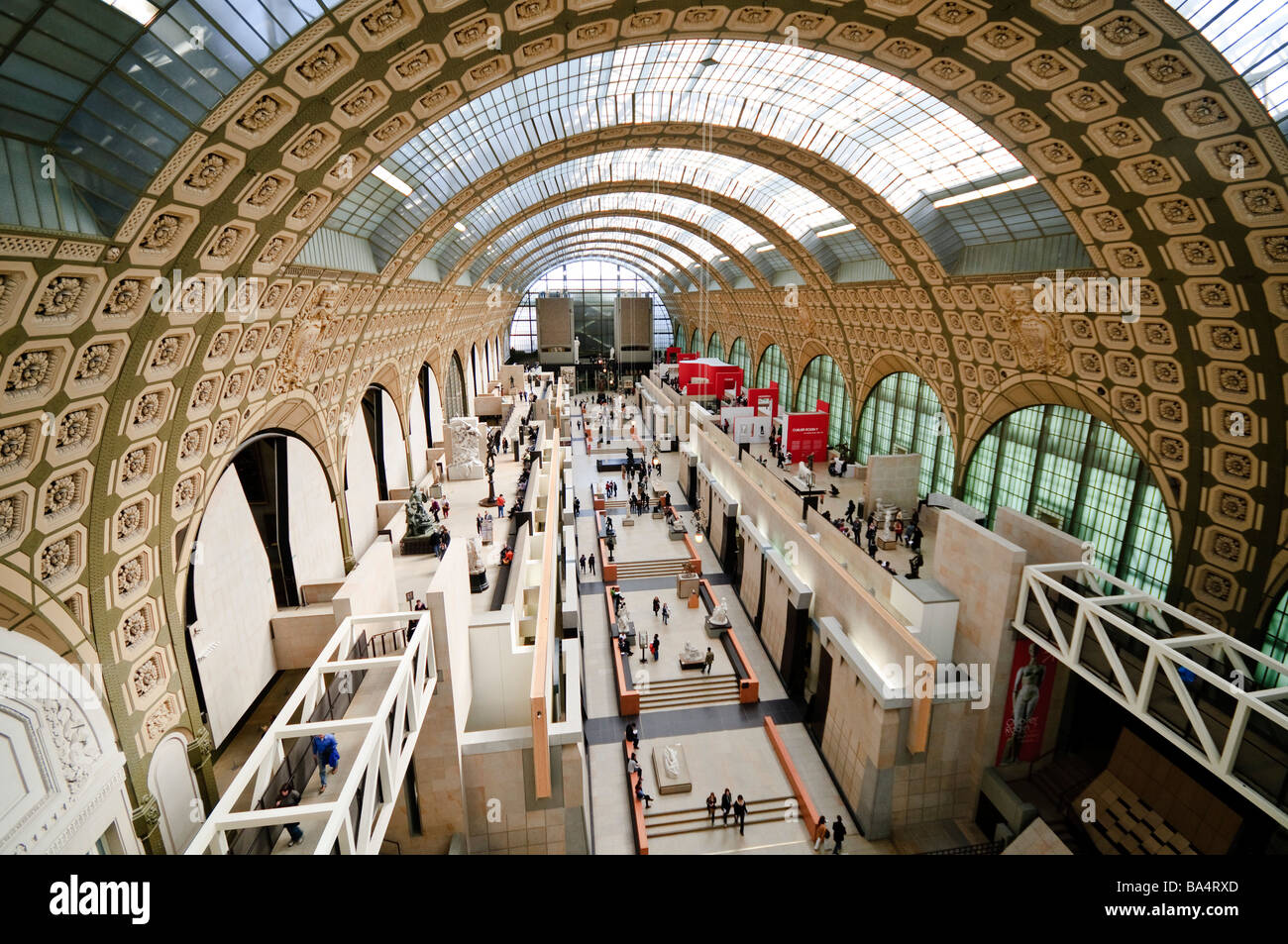 PARIS, France - Main hall of Musée d'Orsay, formerly a train station (Gare d'Orsay) and now an art - Stock Image