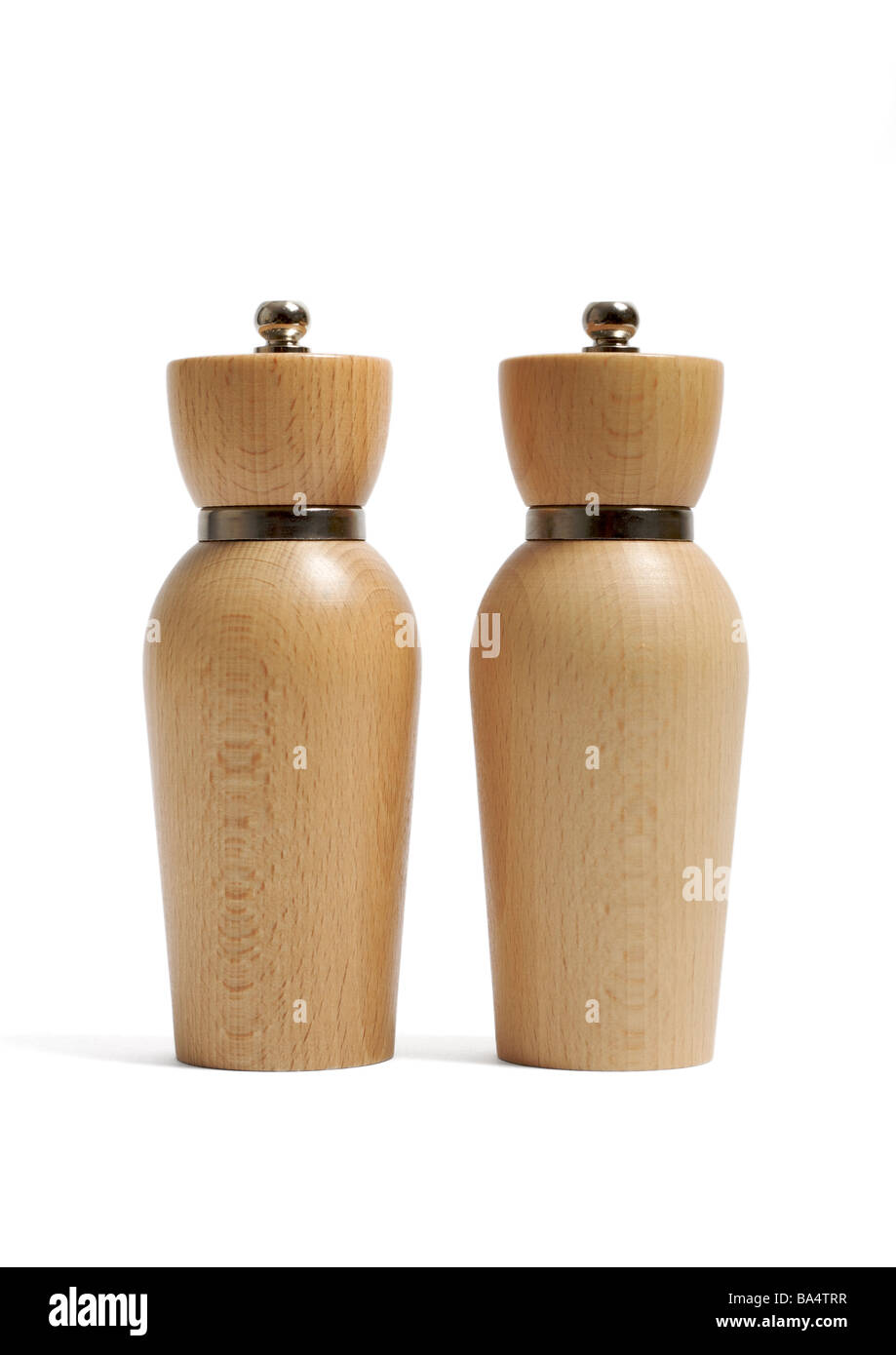 Wooden salt and pepper mills on white background - Stock Image