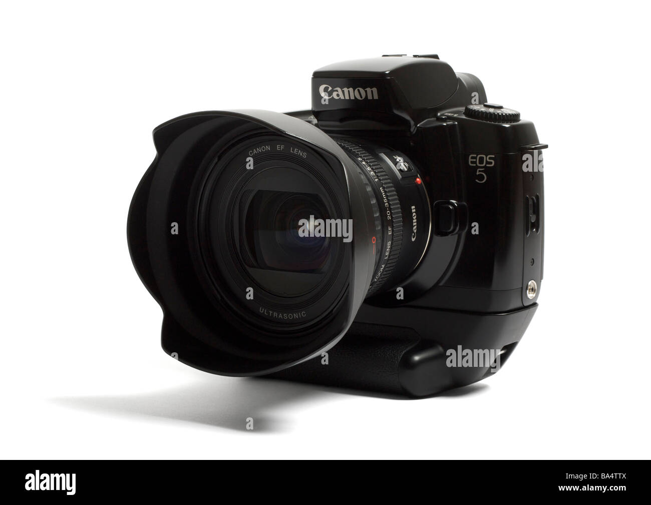 Canon EOS 5 35mm SLR camera on white background - Stock Image