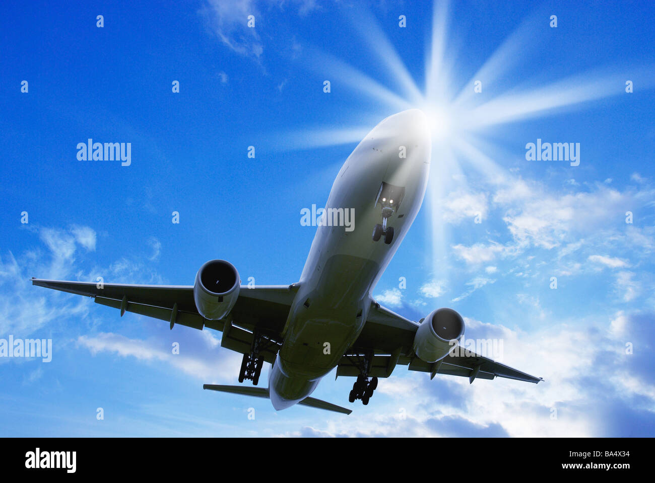 Jumbo Jet Taking Off From the Runway at International Airport Stock Photo