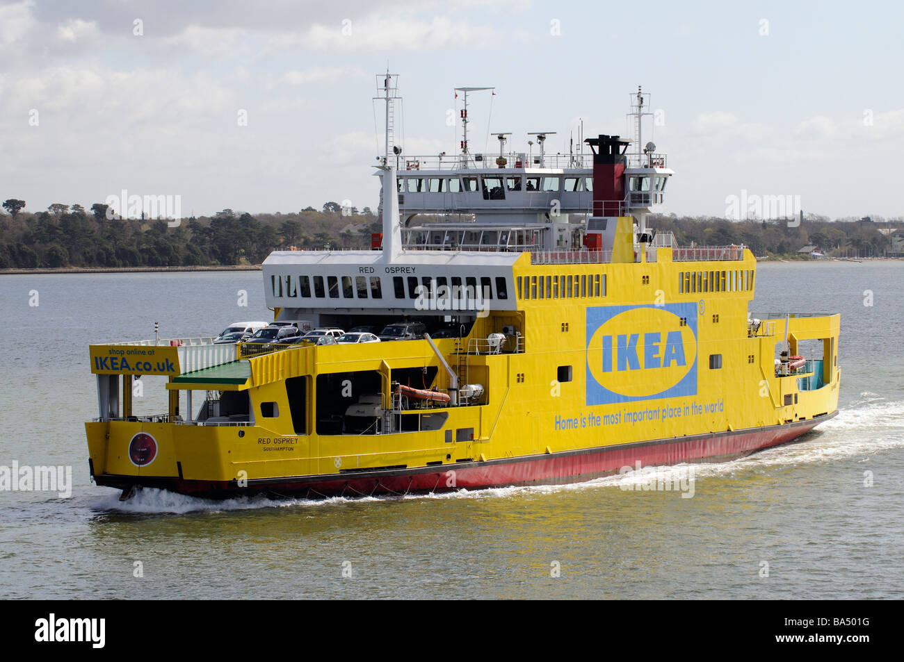 IKEA company advert on the side of a ship as it approaches the Port of Southampton The vessel is a roro ferry called - Stock Image