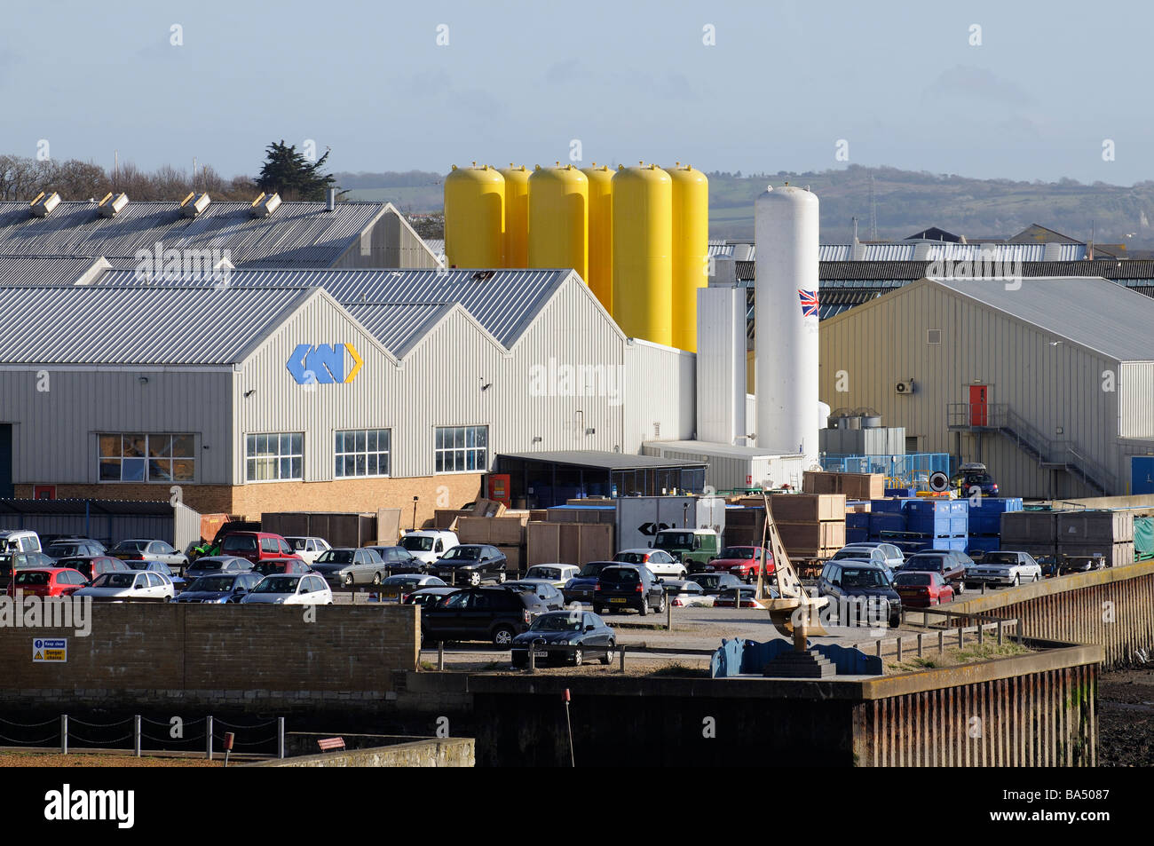 GKN Aerospace Services factory on the waterfront in East Cowes Isle of Wight England UK - Stock Image