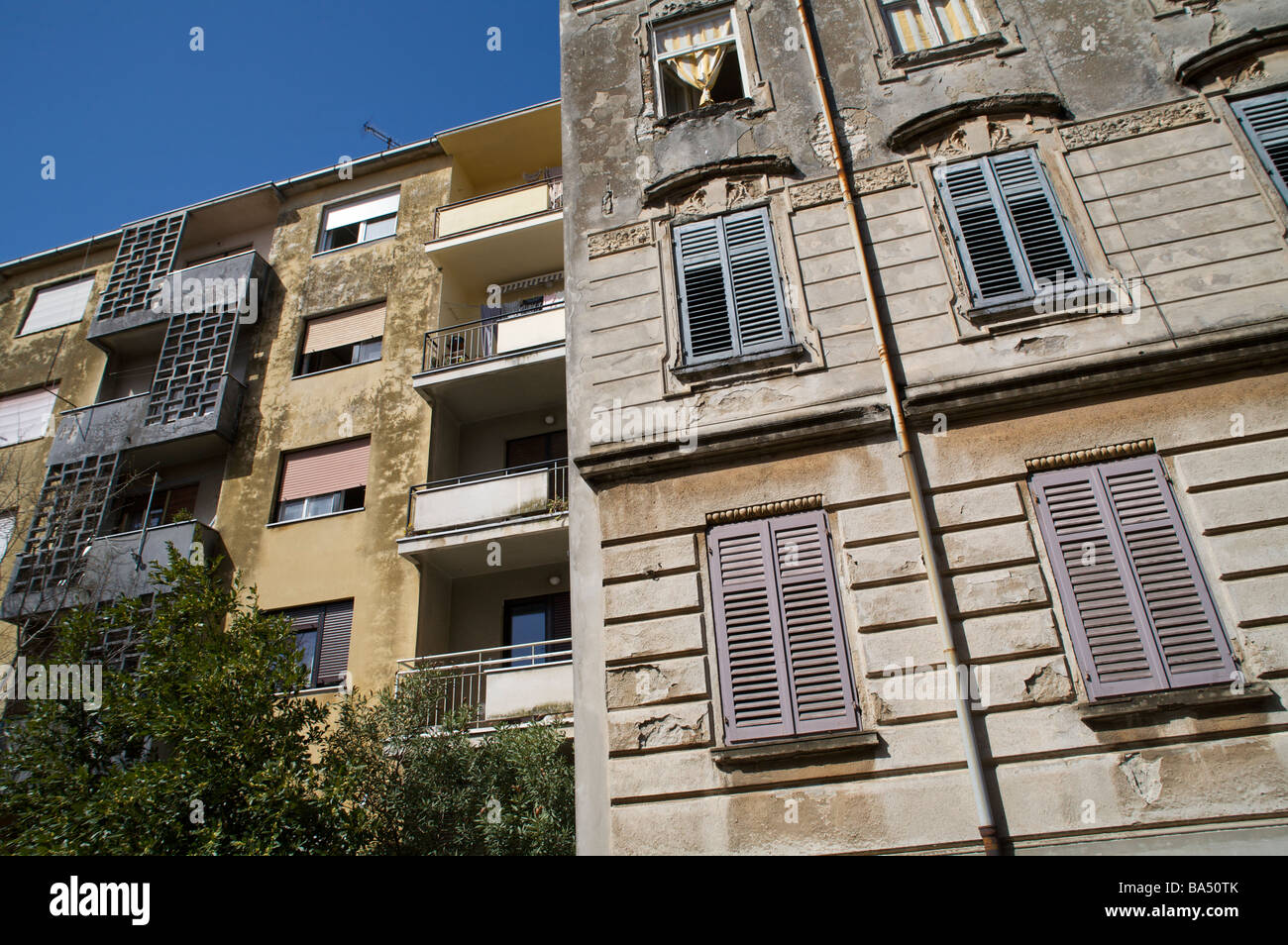 apartment buildings in Pula, Istria, Croatia - Stock Image
