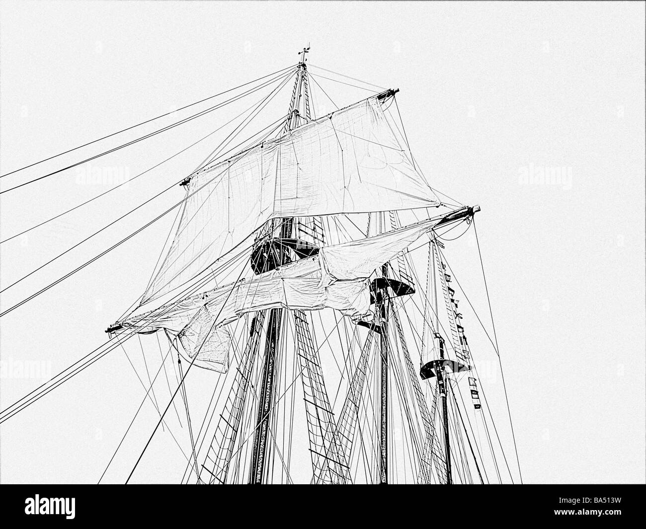 tall-ship tall-ships three masts with unfurled top sail on mast with ropes ladders, no deck, drawing outline in - Stock Image