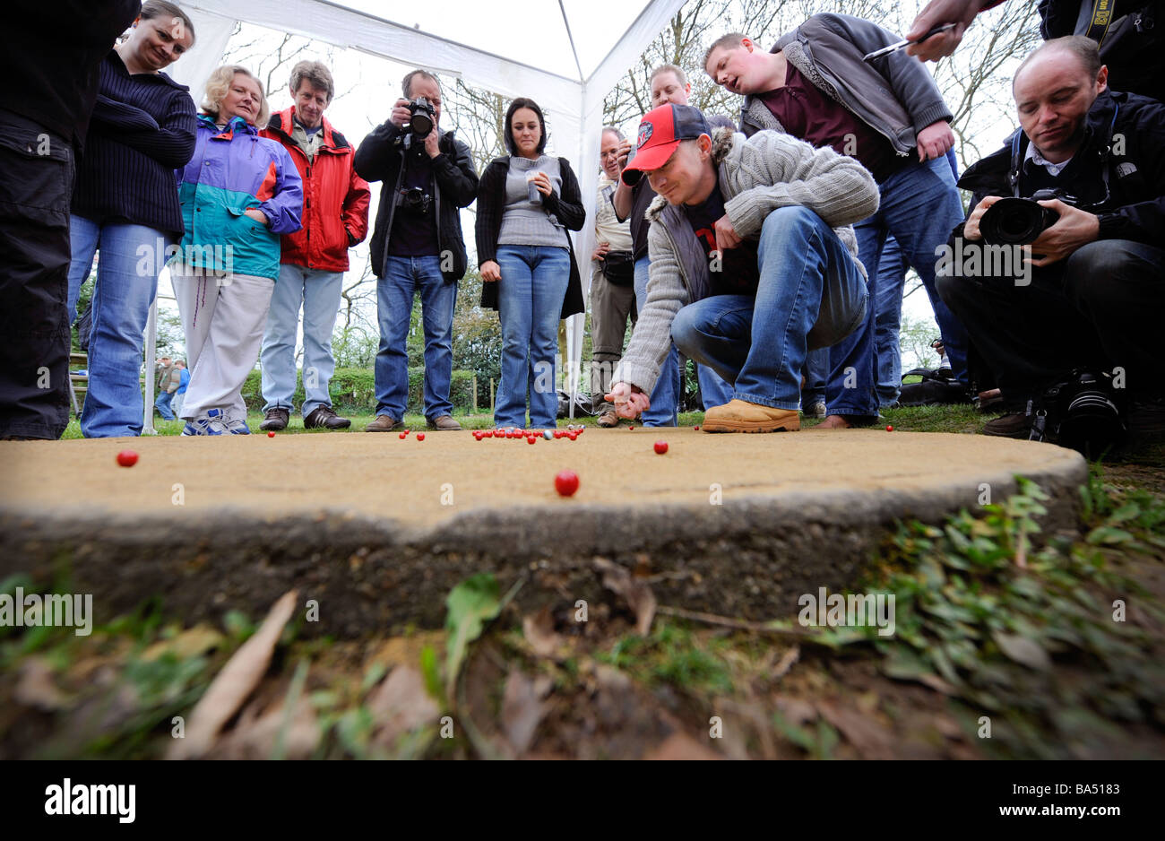 The World Marbles Championships in Tinsley Green Crawley, UK. Picture by Jim Holden. - Stock Image