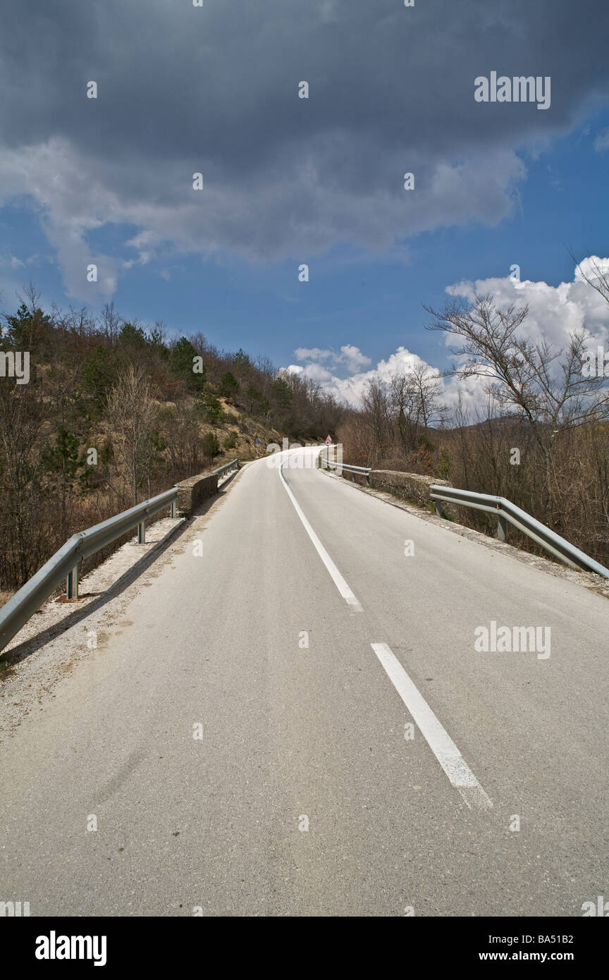 A lonely road in the interior of Istria, Croatia - Stock Image