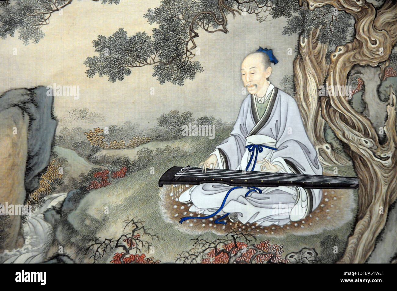 Ancient Chinese painting of wise man playing a Guqin - a ...  Ancient Chinese...
