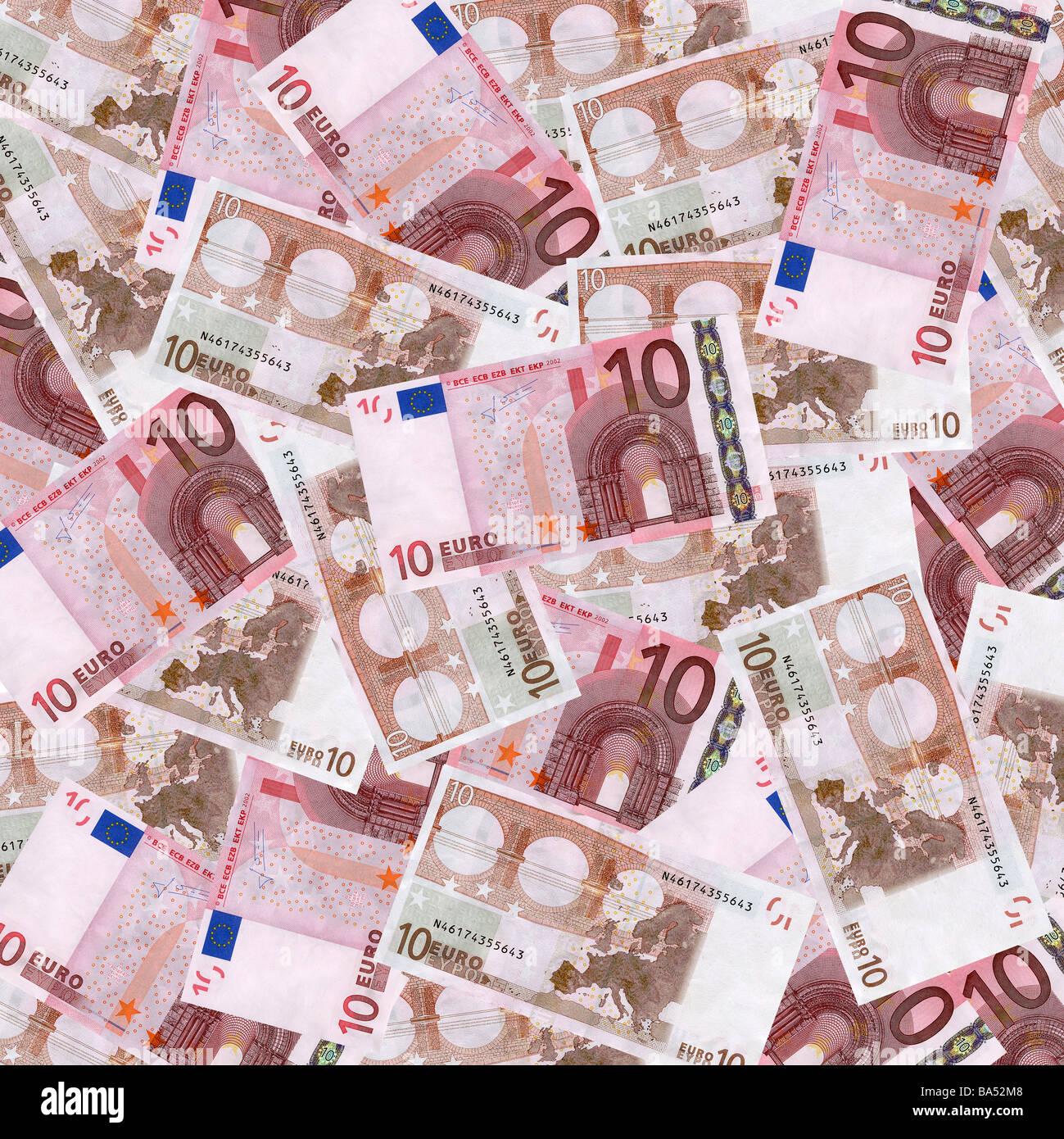 European ten euro notes overhead view - Stock Image
