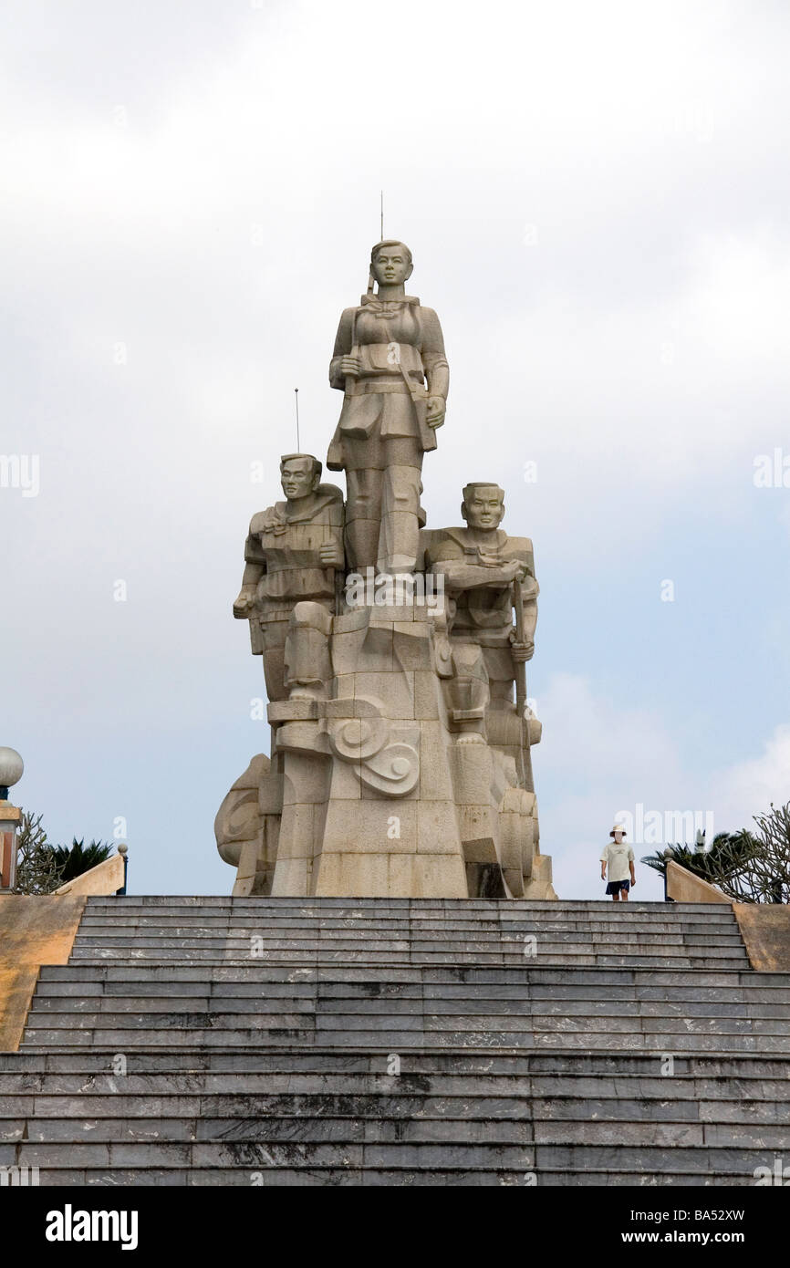 Monument honors the telecommunication officers of the North Vietnam Army near Doc Mieu Vietnam - Stock Image