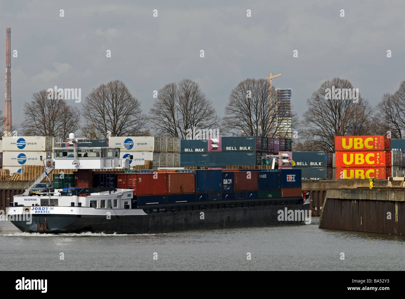 Neihl 1 container terminal, Cologne, North Rhine-Westphalia, Germany. - Stock Image