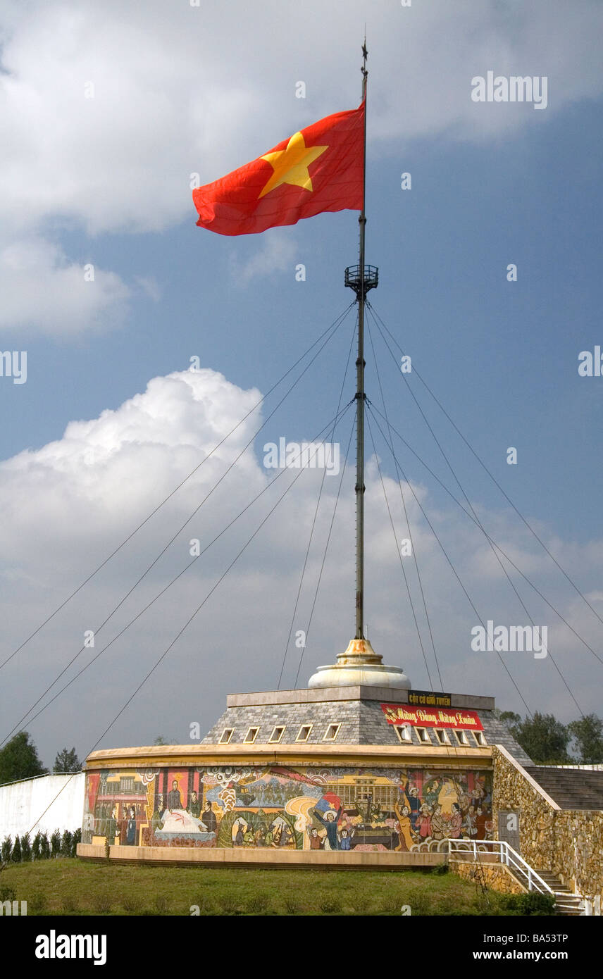 Vietnam flag flying at the former border of North Vietnam and South Vietnam in the Quang Tri Province Vietnam - Stock Image