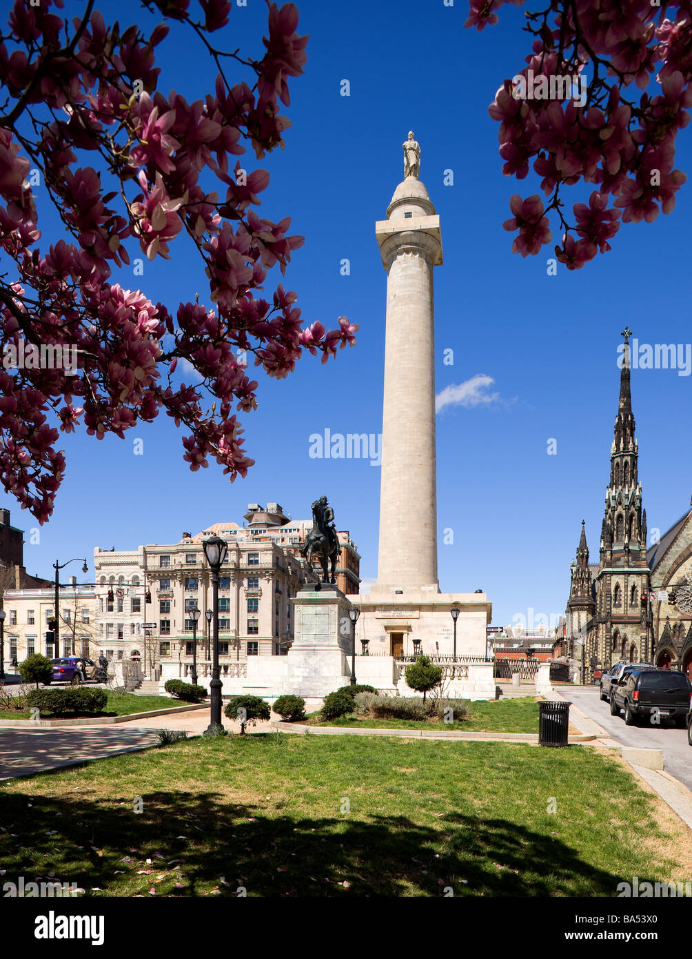 The George Washington Monument in Baltimore, Maryland - Stock Image