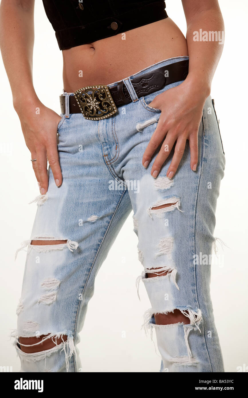 Faded Jeans Woman Stock Photos Images Alamy Biker Ripped Black Image