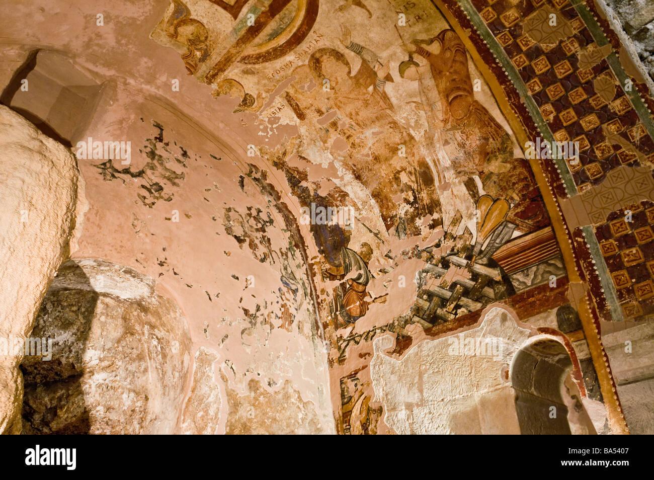 Decoration of Mozarabic Lower Church at Benedictine monastery San Juan de la Peña depicting martyrdom of St - Stock Image