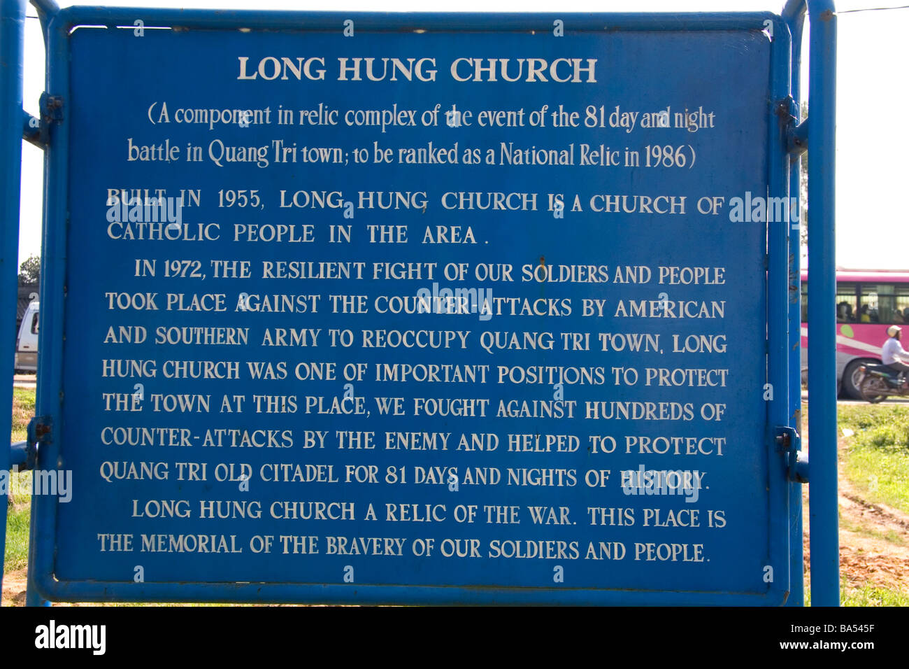 Sign marking the Long Hung Church in the town of Quang Tri Vietnam - Stock Image