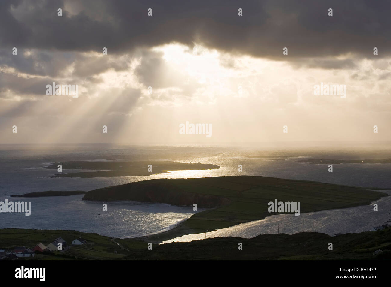 View from Sky Road near Clifden over looking the county Galway coast with a dramatic sunset - Stock Image