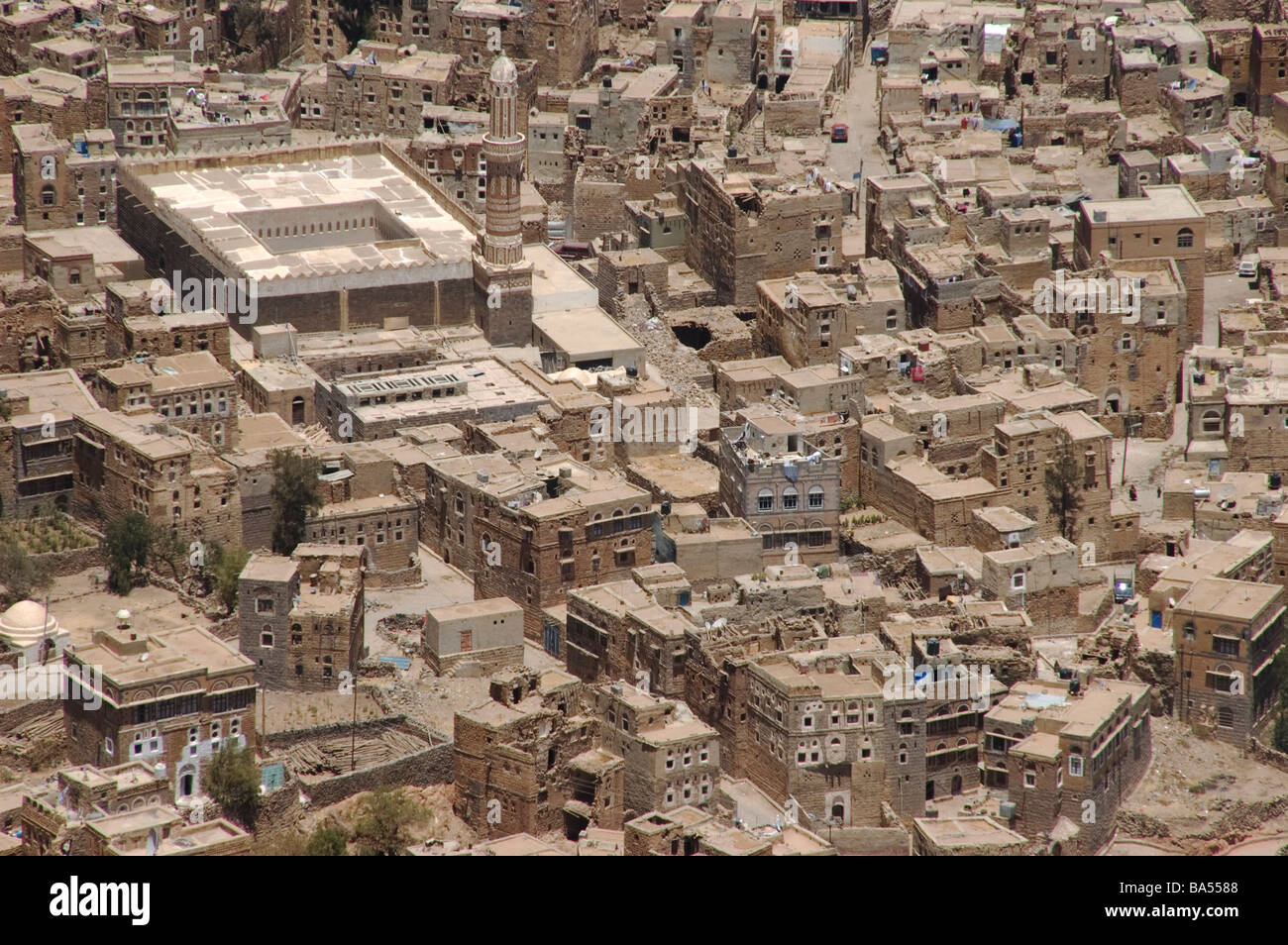 The village of Shibam as seen above from mountain town of Kawkaban, Yemen. - Stock Image