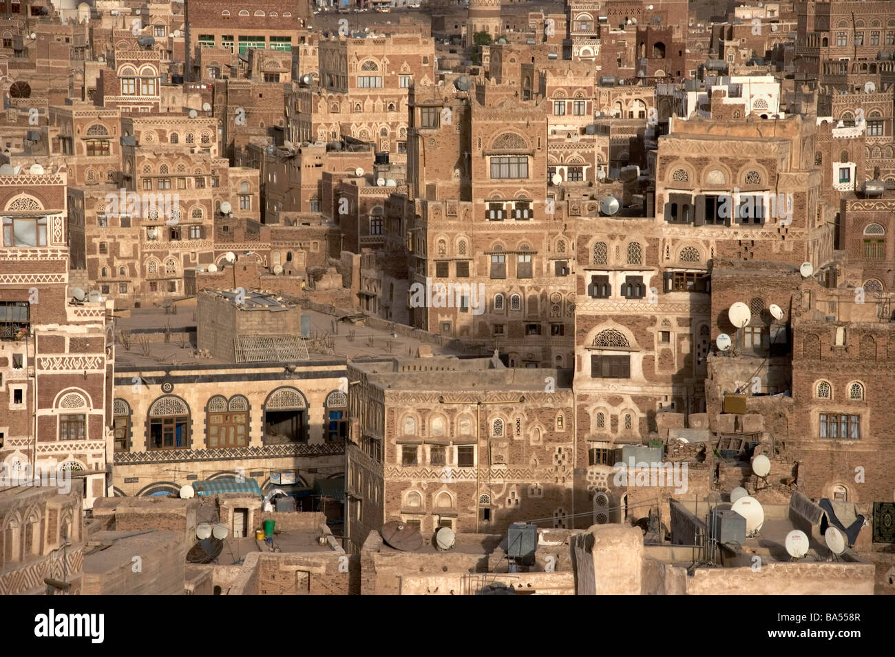 A cluster of tower houses in the old city of Sana'a, Yemen. - Stock Image