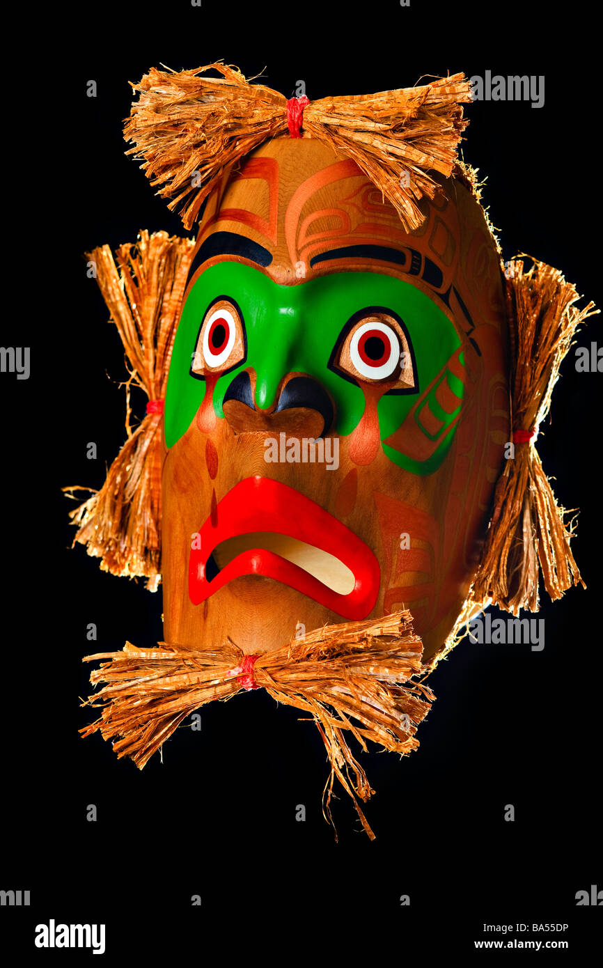 Mourning Mask by Sandy Johnson First Nations Artist original West Coast native art Just Art Gallery Port McNeill - Stock Image