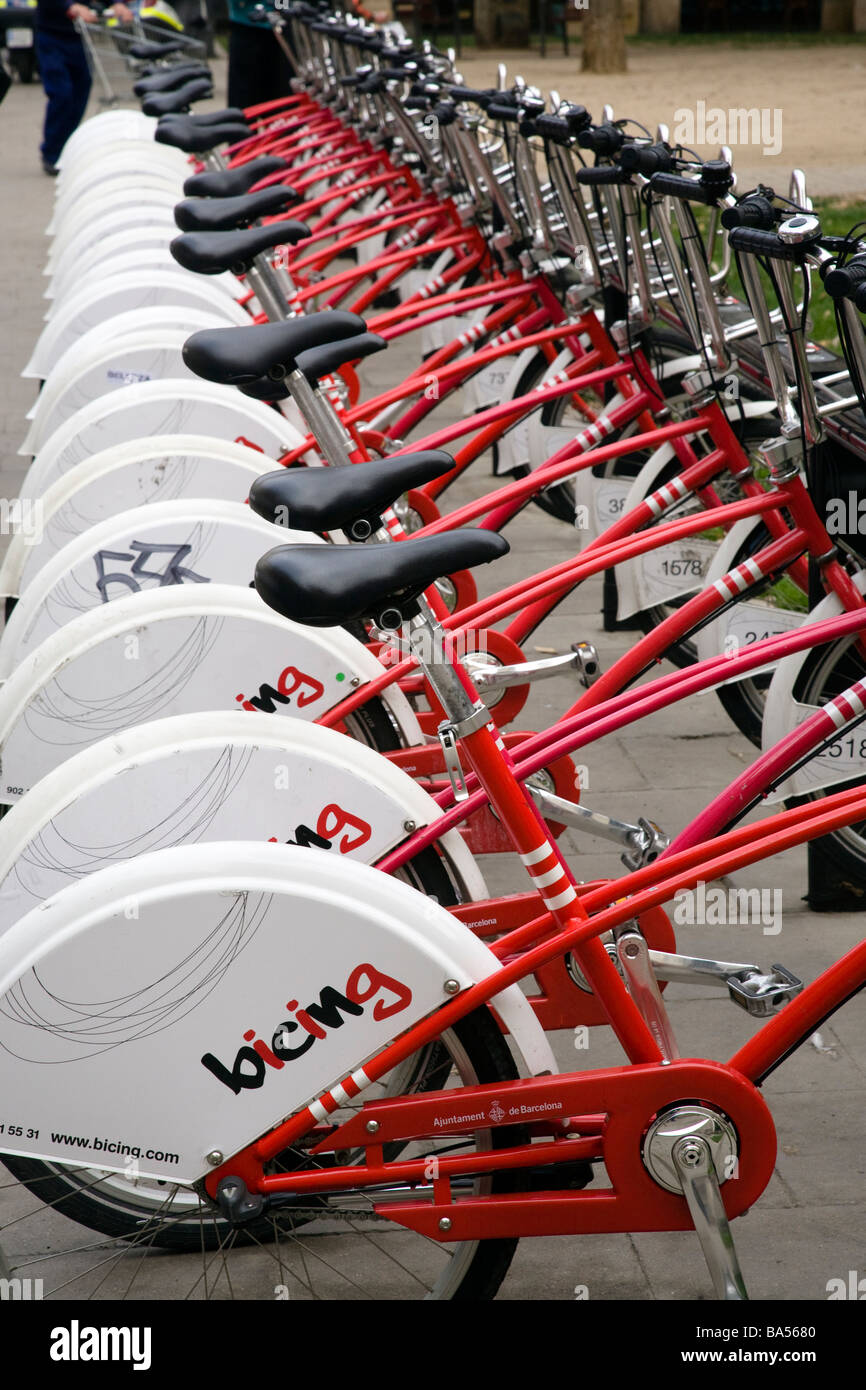 Cycles for Hire Barcelona Catalunya Spain - Stock Image