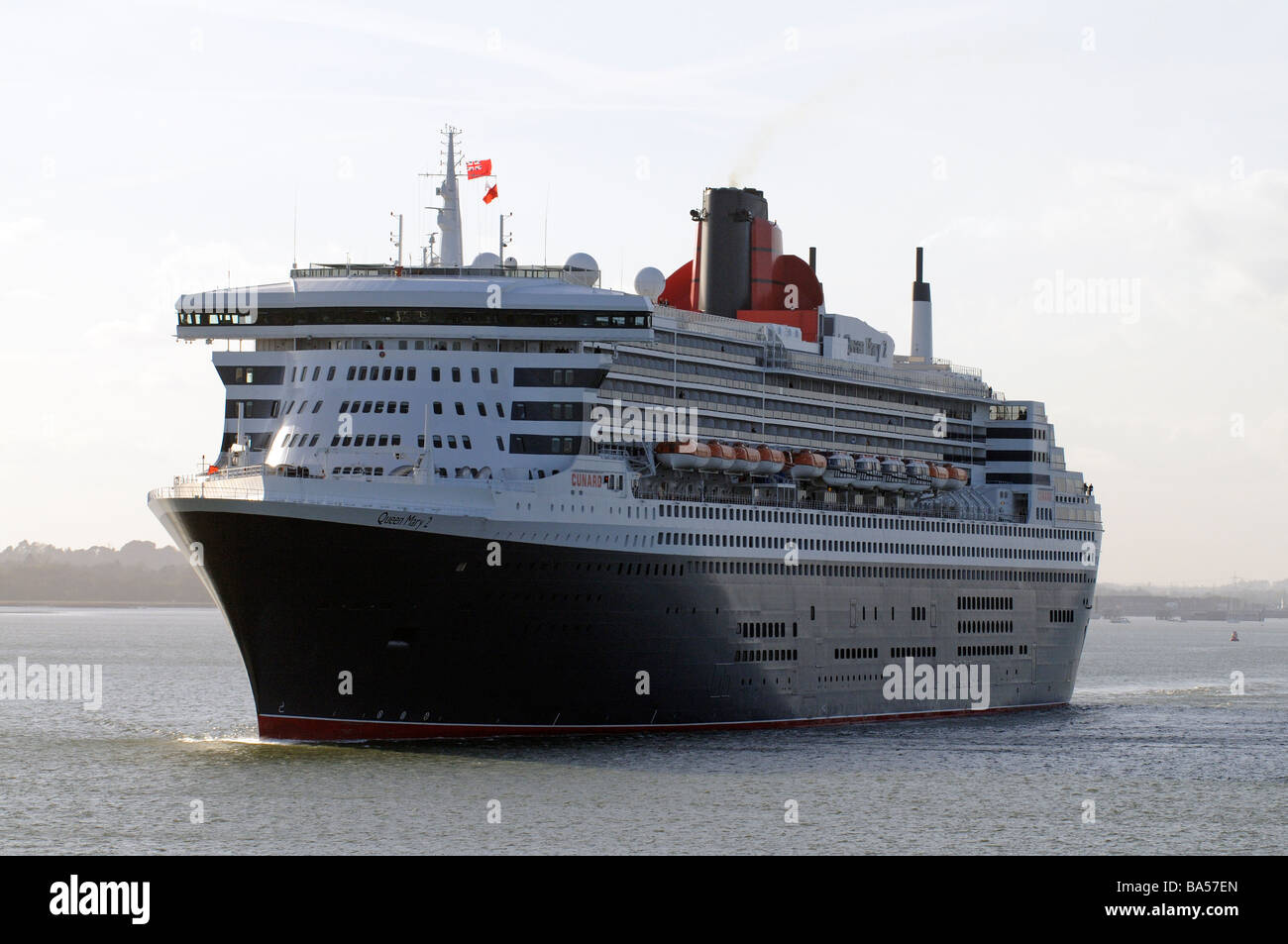 Queen Mary 2 famous Cunard company cruise ship making her way down Southampton Water southern England UK - Stock Image