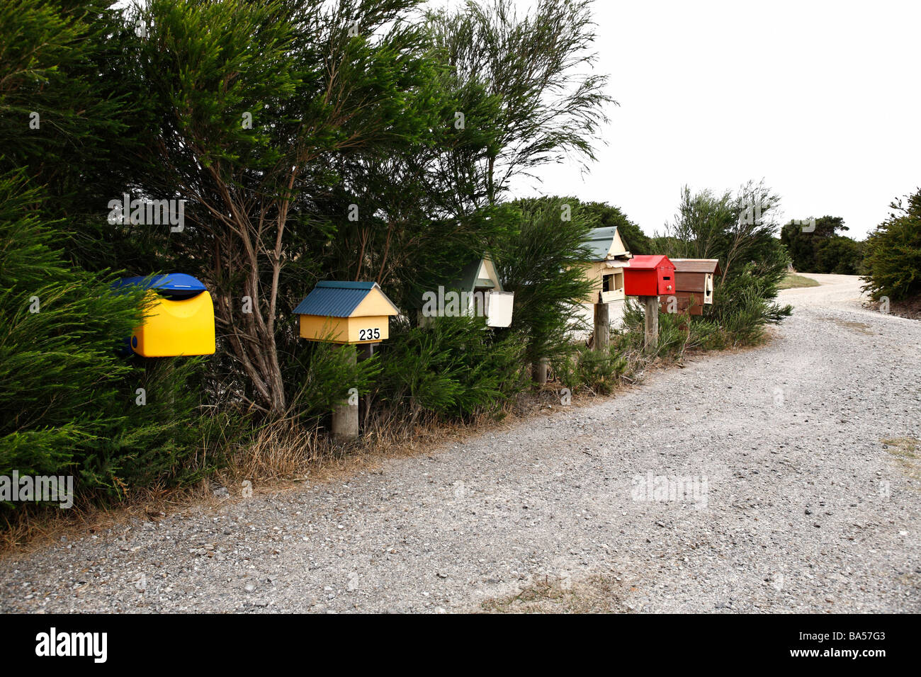 A row of Australian rural country letter boxes Victoria Australia - Stock Image