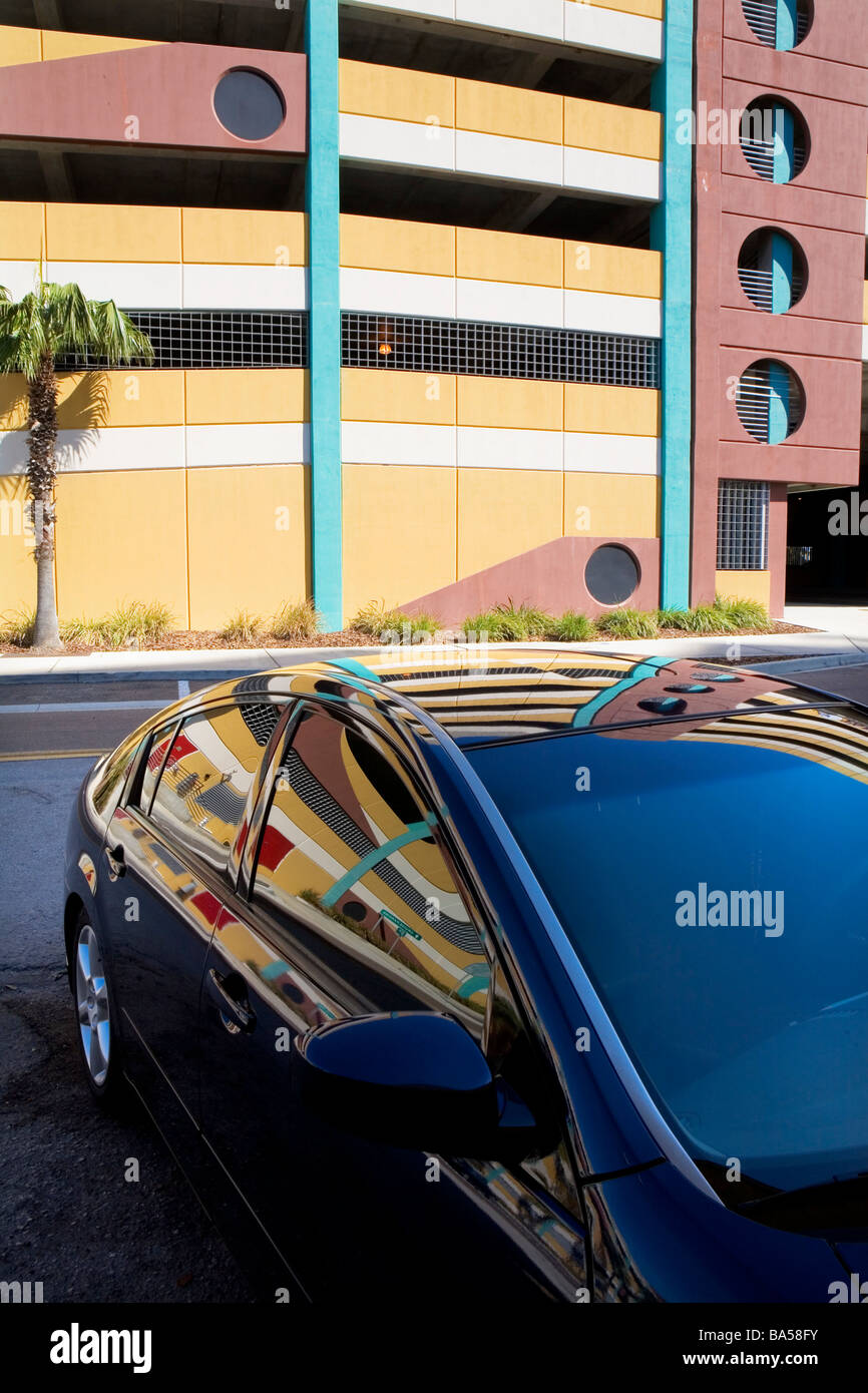 Reflection of Parking Garage in Car Tampa Stock Photo
