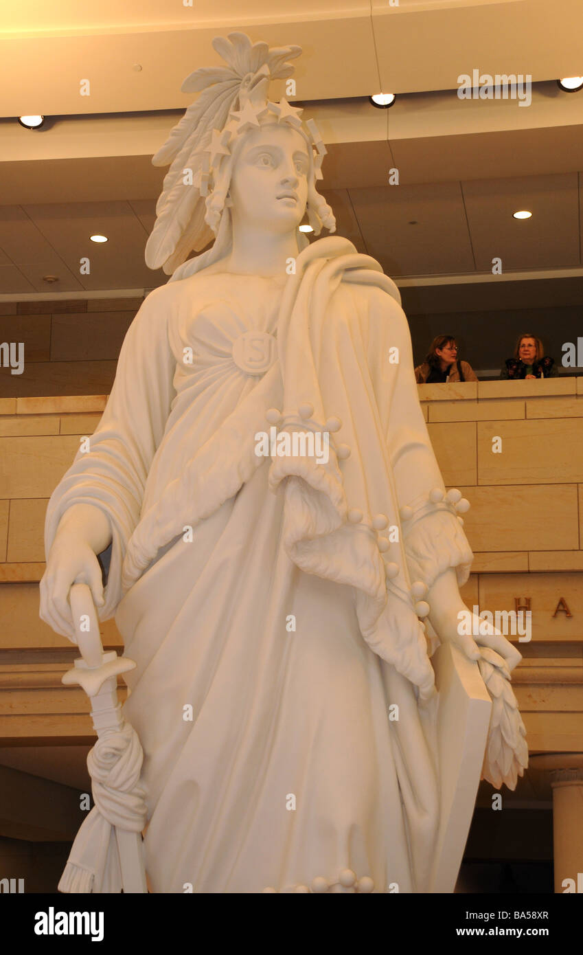 The plaster model for the statue of Freedom, which surmounts the dome of the U. S Capitol building in Washington, - Stock Image