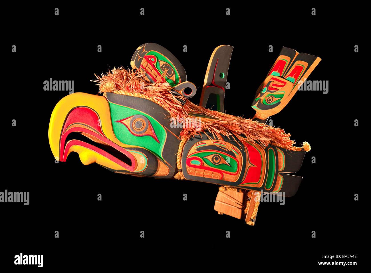 Chief s Helmet by Aubrey Johnson Weka yi First Nation Artist original West Coast native art Just Art Gallery Port - Stock Image