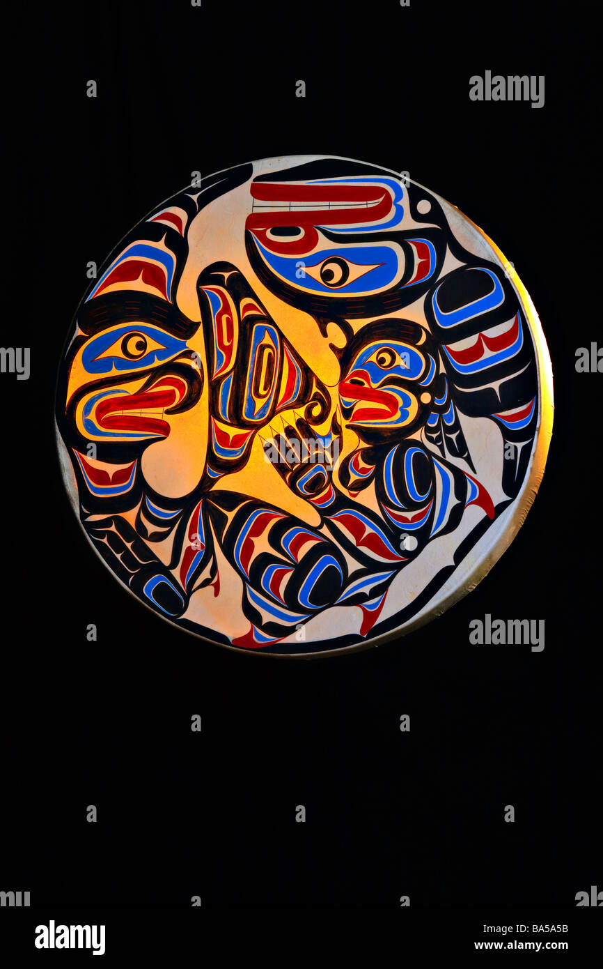 Native Art Drum by Trevor Hunt featuring Wildman Pugwis and the Killer Whale - Stock Image
