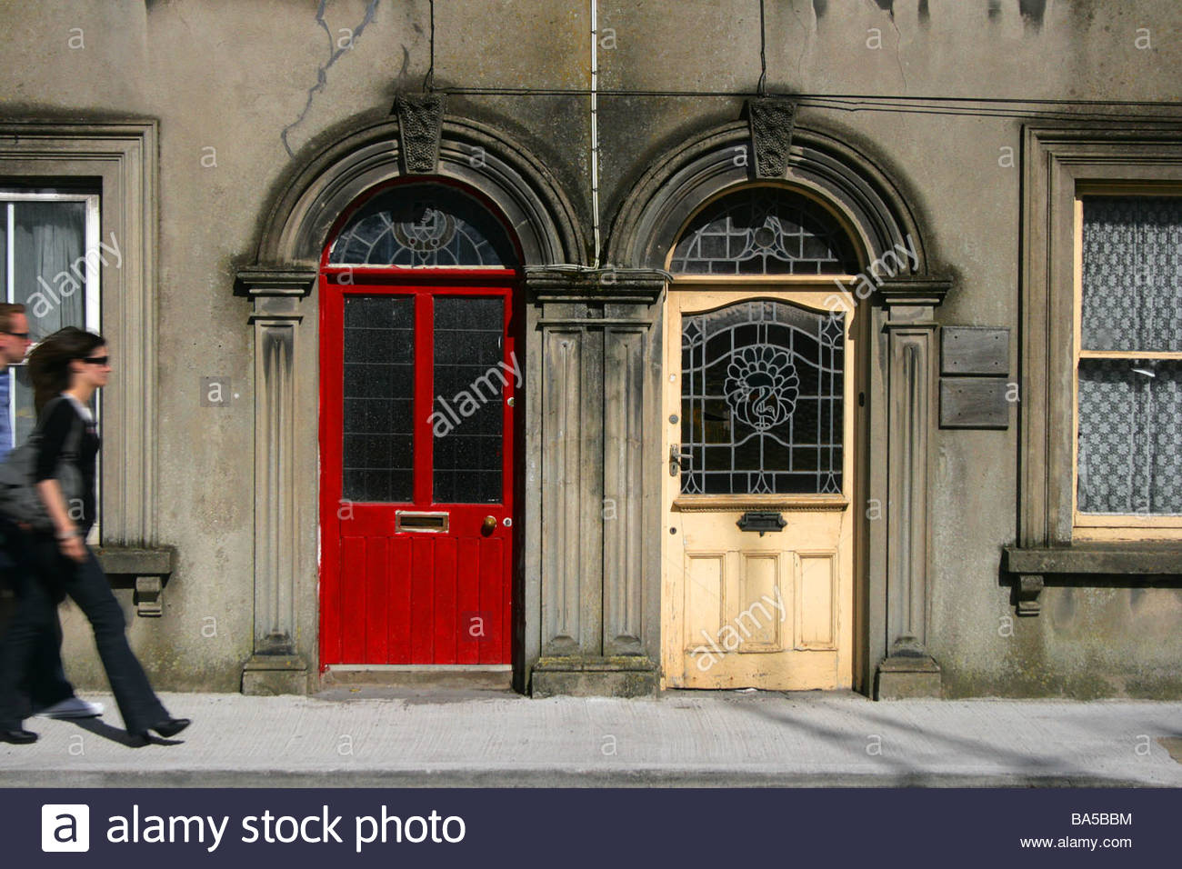 Irish doors and building in Youghal town county Cork Ireland & Irish doors and building in Youghal town county Cork Ireland Stock ...