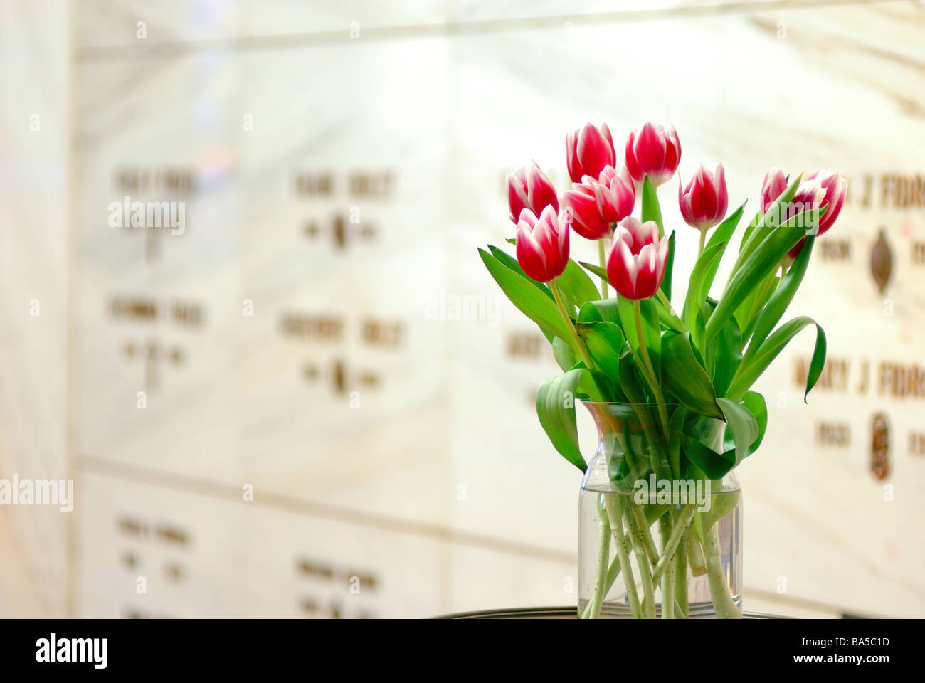 A flower arrangement left in memorium of a loved one in a mausoleum at Allegheny Cemetery, Pittsburgh, Pennsylvania. - Stock Image