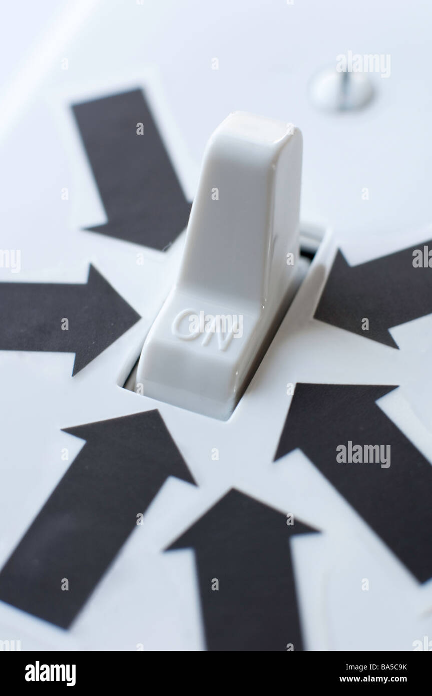 Black arrows all point to an electrical switch in the ON position - Stock Image