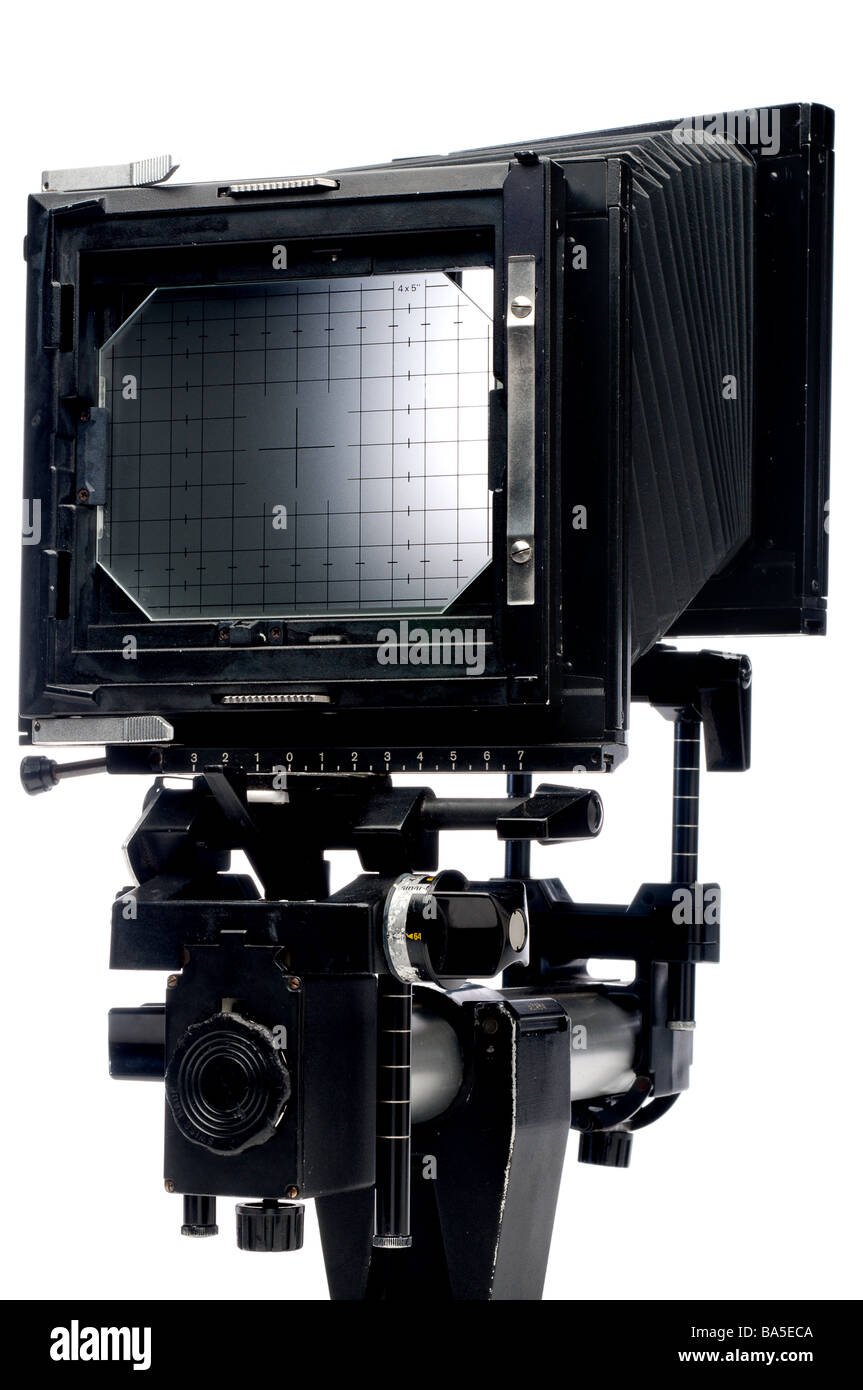 A vertical view of the back of a large format 4x5 view camera on white - Stock Image