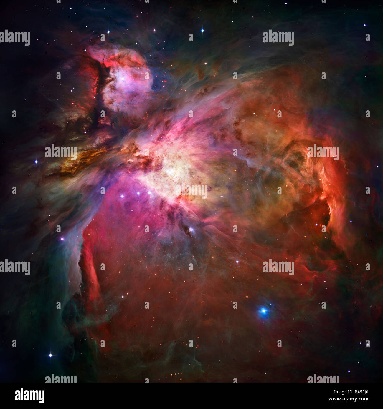 Orion Nebula as photographed by the Hubble Space telescope Please credit Nasa - Stock Image