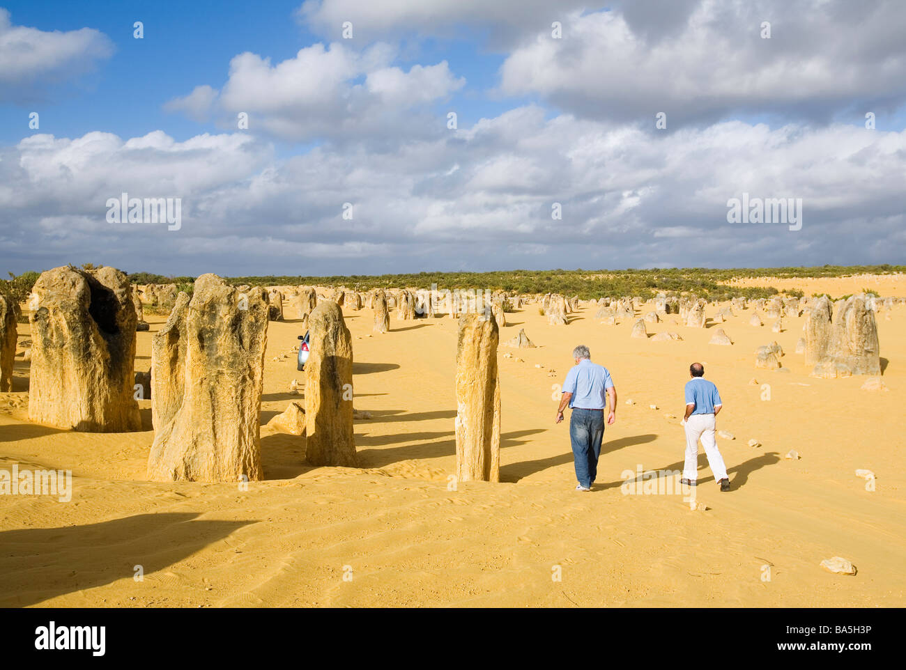 Tourists wander amongst the limestone pillars of the Pinnacles Desert in Nambung National Park.  Cervantes, Western - Stock Image