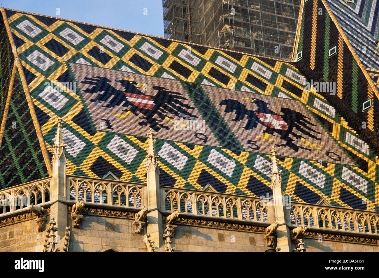 Habsburg emblem on roof of St Stephens Cathedral in Vienna Austria - Stock Image