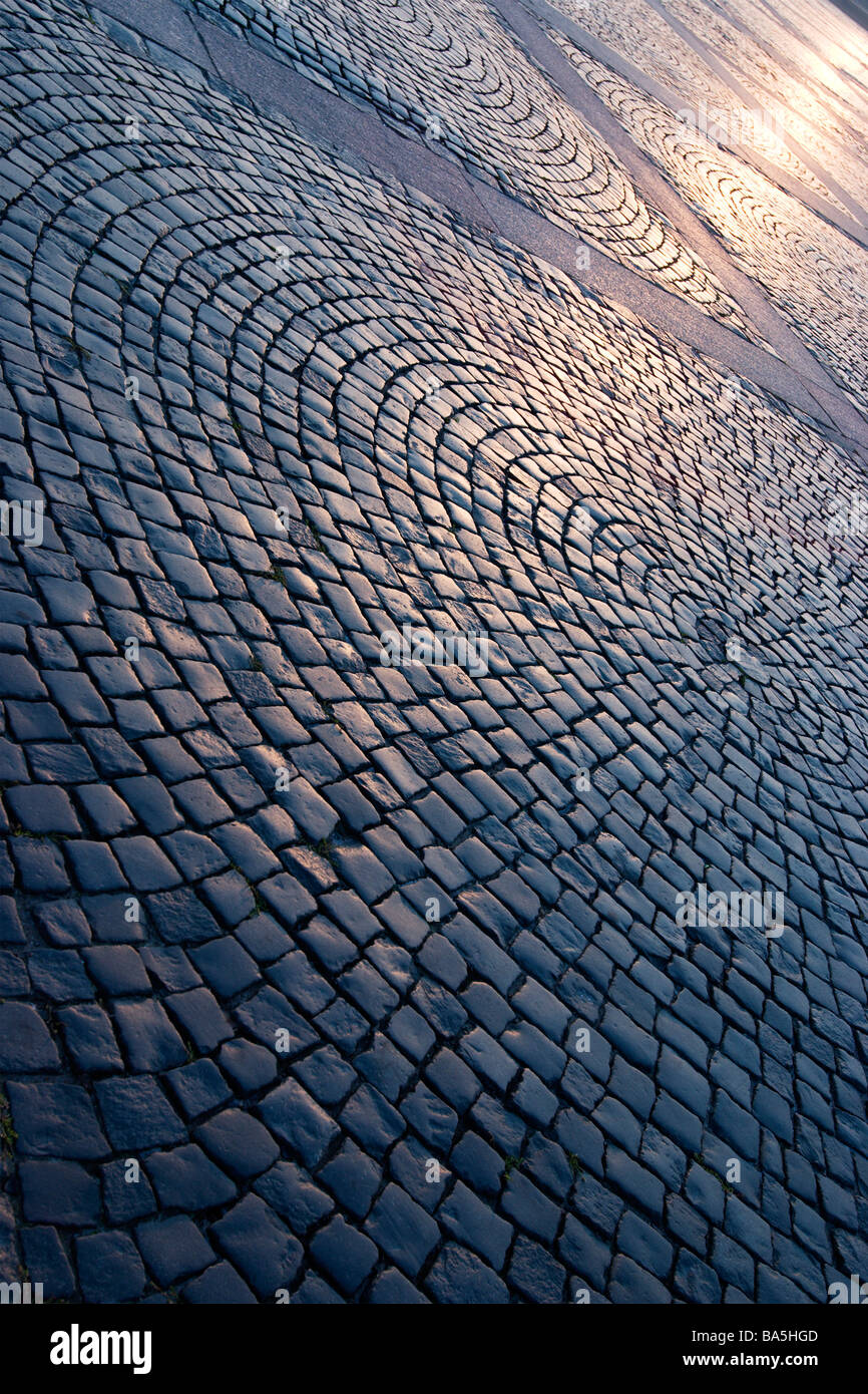 Palace square pavement circular patterin in Saint Petersburg, Russia on sunset. Stock Photo